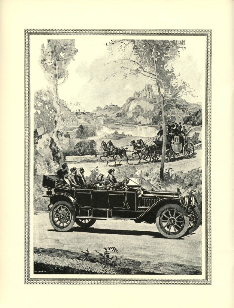 A Packard ad from 1913 what shows a packard car driving in front of a luxury carriage pulled by horses