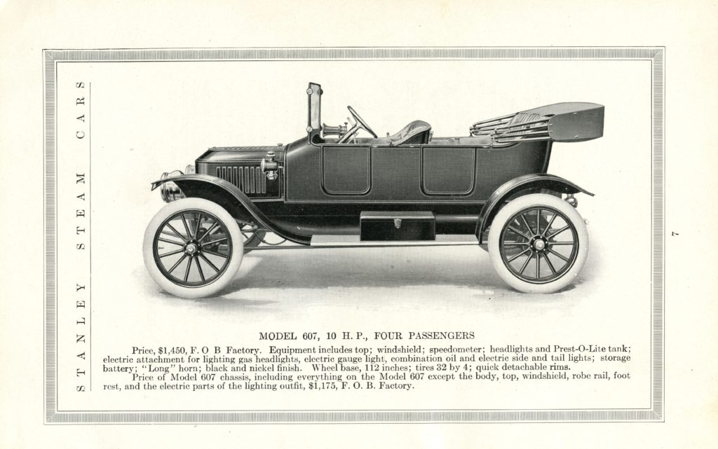 An ad of the 1914 Stanley Model 607, featuring a side profile of the car