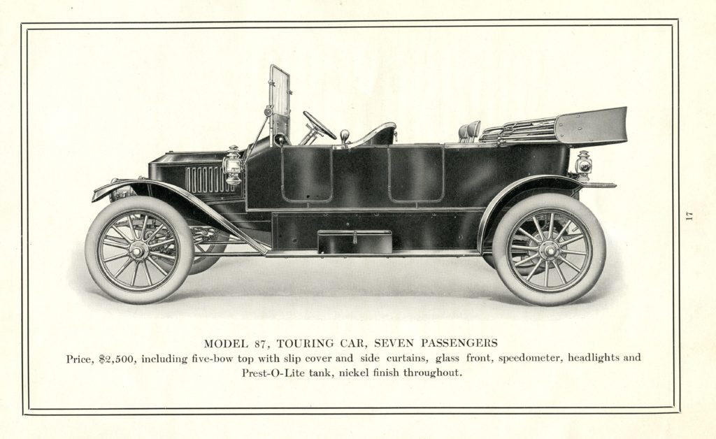 An advertisement of the 1912 Stanley Touring Model 87, featuring a side profile of the car