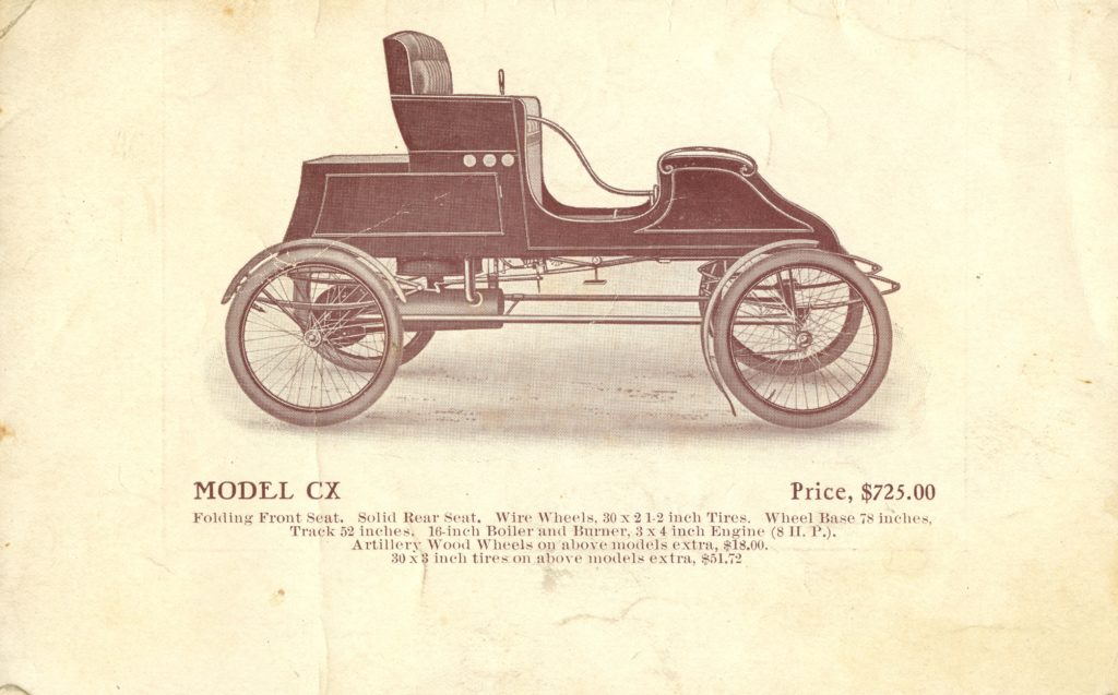 An advertisement ofr the 1905 Stanley Runabout Model CX