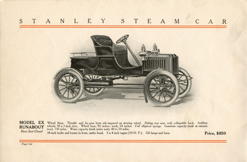 An ad for the 1908 Stanley Model EX