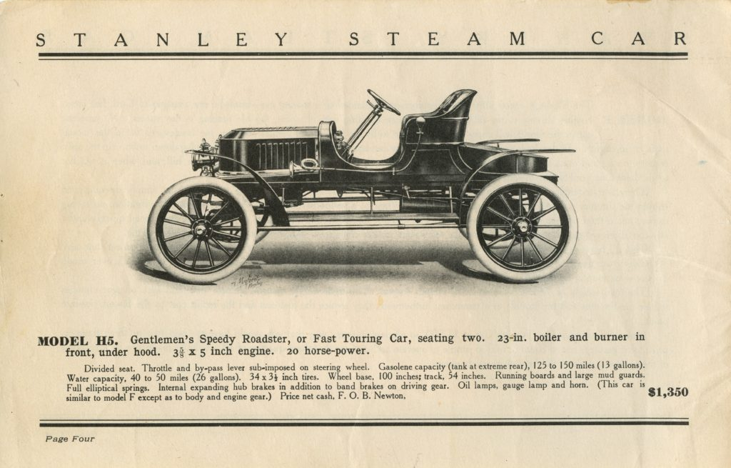 An advertisement for the 1908 Stanley Gentleman's Speedy Roadster H-5 Ad, featuring a side profile of the car