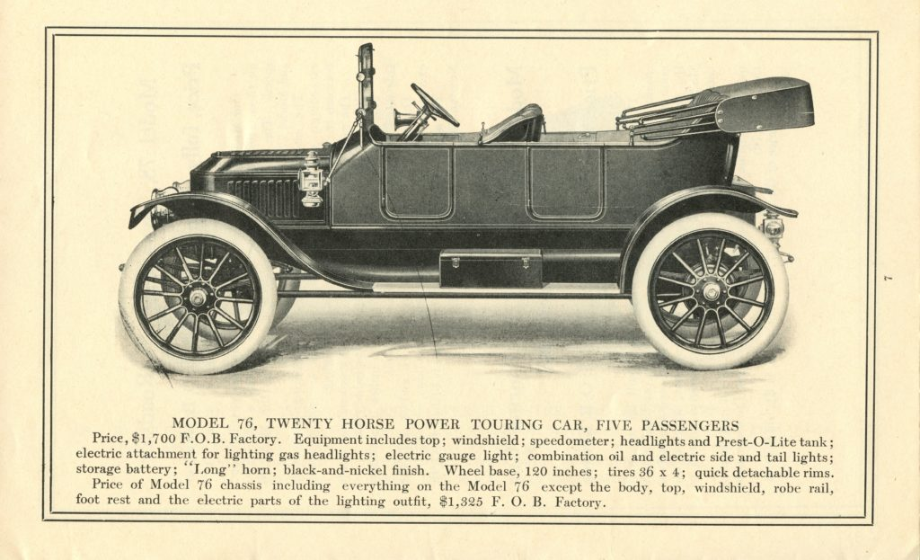 An ad of the 1913 Stanley Model 76, featuring a side profile of the car