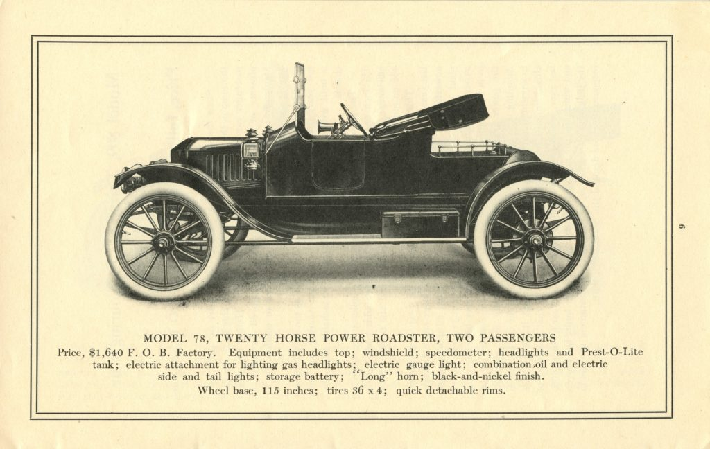 An ad for the 1913 Stanley Roadster Model 78, featuring a side profile of the car
