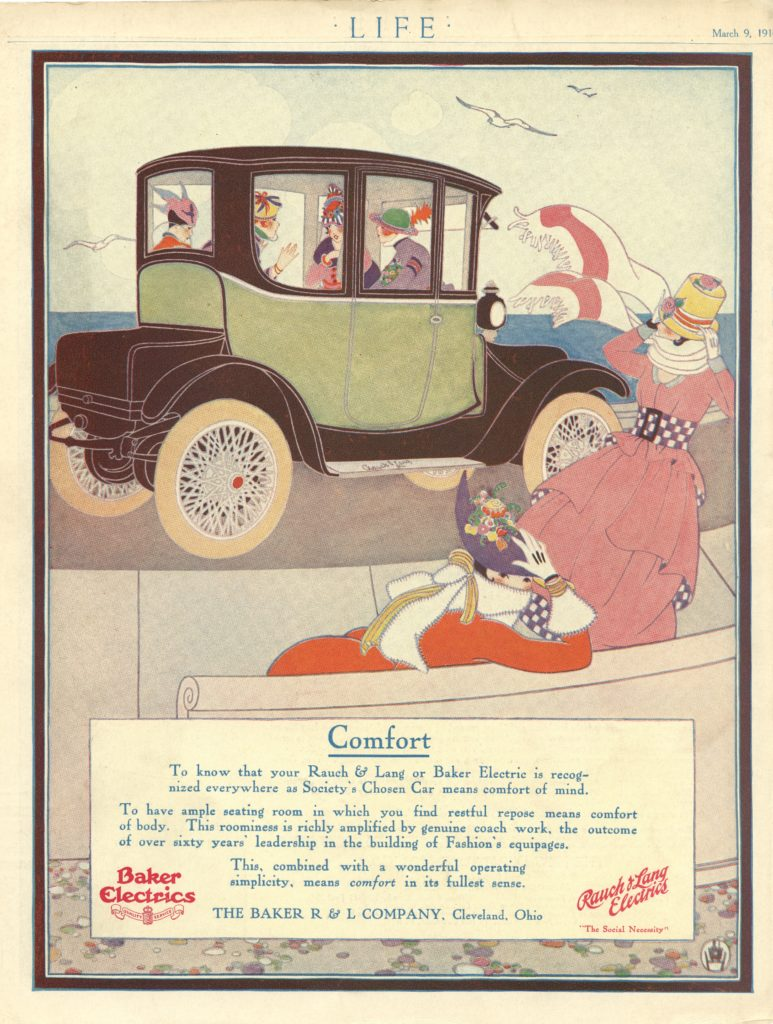 A drawing of women driving in and looking at a Rauch and Lang electric car. The car has a yellow upper body, a black lower body, and white wheels and spokes.