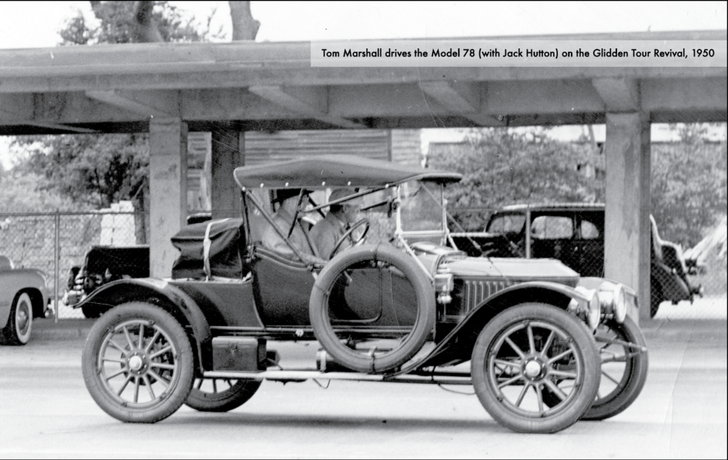 Tom Marshall sits behind the wheel while Jack Hutton sits in the passenger side in this black and white photo of the Model 78