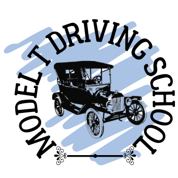 """A drawing of the Model T surrounded by the words """"Model T Driving School"""""""