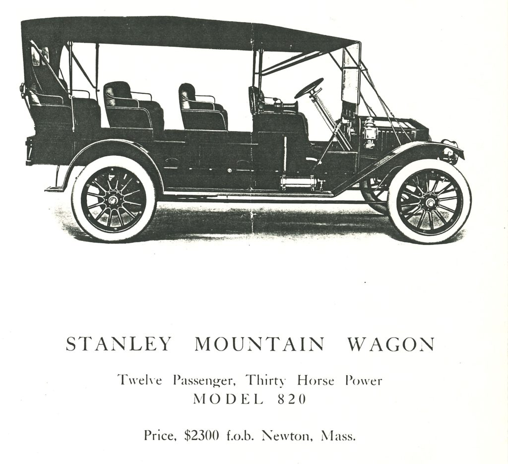 """The side profile of the Mountain Wagon is shown above the text """"Stanley Mountain Wagon"""" the mountain wagon has four rows of seats instead of the usual five"""