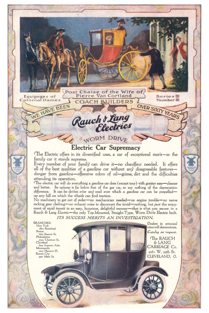 An ad for Rauch and Lang electric cars that features a painting of a colonial-era horse and buggy, along with an illustration of a Rauch and Lang car